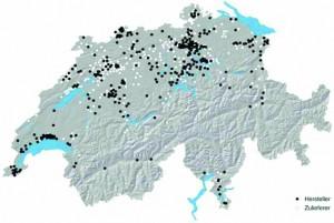 Regionale Verteilung der Hersteller und Zulieferer aus der Medizintechnik. (Bildquelle: Swiss Medical Technology)