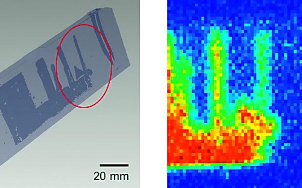 Direkter Vergleich einer iCT-Messung (links) sowie THz-Messung (rechts) eines geklebten Probekörpers aus PEEK mit definiert eingebrachten Fehlern, hier: Lufteinschlüsse. (Bildquelle: SKZ)