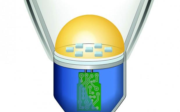 Schnittgraphik einer LED-Retrofit- Lampe. Solche Lampen besitzen an der Frontseite eine Linse (hellblau) zur Lichtsteuerung. Der hochtransparente Flüssigsilikonkautschuk wurde speziell für Linsen und optische Kopplungselemente entwickelt. (Bildquelle: Wacker)