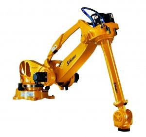 Der Sechsachser bewegt Teile mit einem Gewicht von 165 kg bei einer Reichweite von 3.680 mm. (Bildquelle: Stäubli)