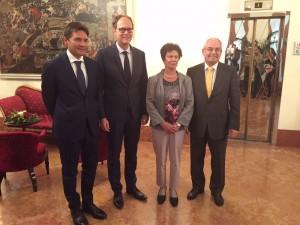 Das neue Euromap Präsidium (v.l.): Luciano Anceschi (Präsident), Thorsten Kühmann (General Sekretär), Lilli Rudnick (Schatzmeister), Dr. Karlheinz Bourdon (Vize-Präsident). (Bildquelle: Euromap)