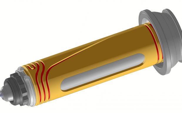 Die Düse MTR-T von HRS-Flow, San Polo di Piave, Italien, ist für das Spritzgießen großer Behälter mit Wanddicken ab 0,45 mm und einem Fließweg-Wanddicken-Verhältnis bis 350 konzipiert. (Bildquelle: HRS-Flow)
