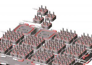 Die Mikro-Verteilertechnik  ist eine standardisierte Lösung für die effiziente Massenfertigung von Polyolefin-Bauteilen mit kleinen Schussgewichten in extrem hochfachigen Werkzeugen. (Bildquelle: Ewikon)