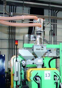 Eine zentrale Materialbeschickung mit dezentraler Einfärbung sorgen für stabile Prozesse und niedrigen Energie- Materialverbrauch. (Bildquelle: alle Motan-Colortronic)