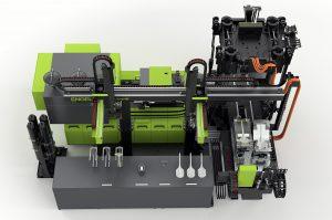 Ausgehend von trockenen, vorgeformten Verstärkungstextilien werden beim In-situ-Verfahren Polymerisations- und Formgebungsprozess in einer Spritzgießmaschine vereint. (Bildquelle: Engel)