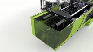 Der Speicher auf Basis des Schwungradprinzips (hier in einer Engel E-Speed 500) nimmt die Bremsenergie der Werkzeugaufspannplatten auf und stellt sie bei Bedarf – zum Beispiel zum erneuten Beschleunigen – wieder zur Verfügung. (Bildquelle: Engel)