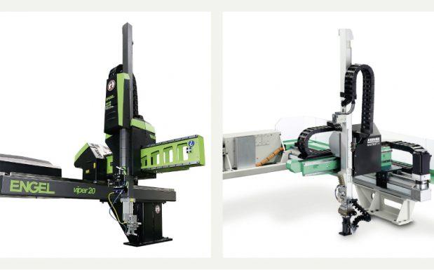 """Platz 10: Komplexe Automations-Aufgaben erfordern eine effiziente Robotersteuerung. Die Hersteller integrieren dazu immer mehr Funktionen in die Maschinensteuerung, sodass die gesamte Anlage von einem Bedienpanel aus kontrolliert wird. Die <a href=""""http://marktuebersichten.plastverarbeiter.de/mu-roboter-und-handhabungssysteme""""target=""""_blank""""> Marktübersicht Roboter und Handhabungssysteme</a>  gibt einen Überblick über die wichtigsten Systeme für Kunststoffverarbeiter. (Bildquelle: Engel, Arburg)"""