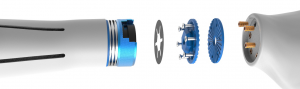 Die Darstellung zeigt den kompletten Aufbau der Kupplung. Auf der linken Seite ist schematisch der Prothesenschaft dargestellt. Das Konzept Sicherheitsrelevante Schnellverschlusskupplung für modulare Handprothesen ist zur Patentierung angemeldet (Okt. 2016) worden.