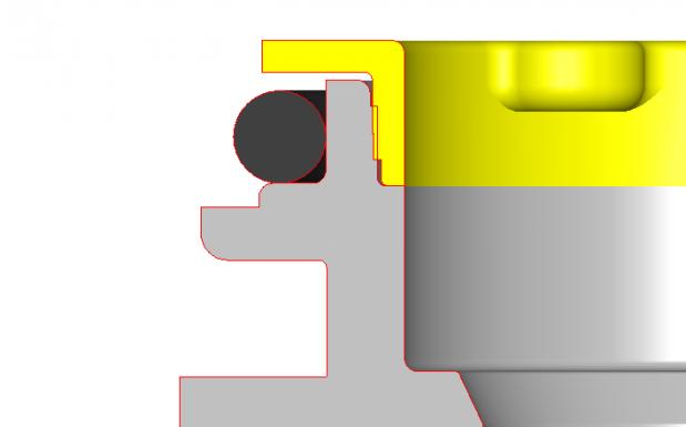 Schnitt Ventilblock aus PVDF mit Schweißnahtgestaltung