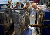 Platz 2:  Die Moulding Expo 2017, Leitmesse des Werkzeugbaus,  verzeichnet seit ihrem Debüt im Jahr 2015 stetig wachsende Besucher- und Ausstellerzahlen. 2017 ist die Hallenfläche komplett belegt. (Bildquelle: Messe Stuttgart)