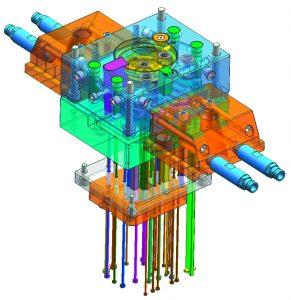 Das  Werkzeug  enthält eine im  additiven Verfahren hergestellte konturnahe Kühlung, die den Prozess verkürzt.