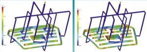 Darstellung des Spritzgießens eines verchrombaren Pkw-Frontgrills in einem Familienwerkzeug mit Zehnfach-Anbindung: Ohne Regelung des Schmelzeflusses werden die unterschiedlich großen Kavitäten sehr ungleichmäßig gefüllt (Bild links), geregelt mit dem Nadelverschlusssytem Flexflow hingegen alle Kavitäten in derselben Zeit (rechts) – der Grill hat eine fehlerfreie Oberfläche, die sich fürs Galvanisieren eignet. (Bildquelle: HRS)