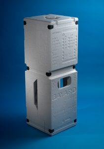 Knauf Industries hat diese neue industrielle Verpackung entwickelt und stellt sie für die Hydranten der Firma Bayard her. Sie ist zu 100 % recyclingfähig. (Bildquelle: Knauf)