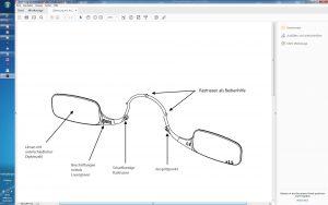 Die  Rastnasen am inneren Teil des Brillenbügels werden separat geschnittene Werkzeugeinsätze ausgeformt. Die in die Werkzeugtrennung erodierten äußeren Rastnasen sind Griffhilfen zum Aufsetzen der Brille. (Bildquelle: Kläger)