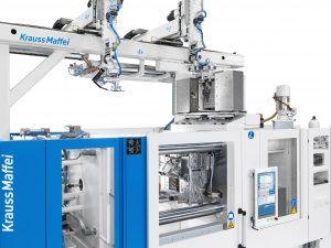 Abbildung 2:  Fiber-Form-Anlagentechnologie (Fertigungslösung 1) zur Verarbeitung von Organoblechhalbzeugen der Größe ≤ 350 mm x 350 mm (B x H)