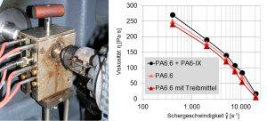Mit dem am KUZ entwickelten Spritzgieß-Rheometer werden Viskositätskurven der Hautschicht aus PA6.6+PA6-IX (Metallersatzkunststoff) und des Schaumkerns aus PA6.6 ermittelt. (Bildquelle: KUZ)