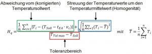 n:           Anzahl der Messfelder Ti:              Temperaturmittelwert des Messfeldes i [°C] TSoll:      Aufheiz-Solltemperatur im IR-Ofen [°C] TTol max: Maximaler Temperaturtoleranzwert [°C] bezogen auf TSoll tEA:         Zeit nach Ende des Aufheizvorgangs [s] nc:          Abkühlrate [K/s]