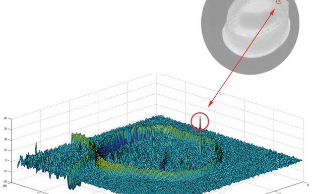 Kontamination auf der Oberfläche eines runden Pellets werden mit dem optischen System detektiert.