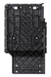 Das Rücksitzsystem eines Geländewagens aus Multiaxial endlosfaserverstärkten Kunststoff ist gegenüber einer Stahlvariante mehr als 40 Prozent leichter. Gleichzeitig erfüllt das sicherheitsrelevante Bauteil alle Lastfälle, weil die Orientierung der Endlosfaserlagen im nur zwei Millimeter dicken Halbzeug gezielt auf die  mechanische Belastung ausgerichtet ist.  (Bildquelle: Lanxess)
