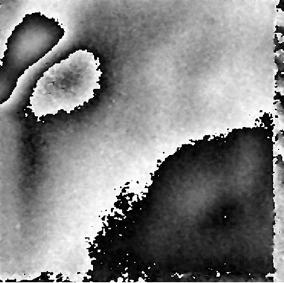 Shearogramm eines Aluminium-Polystyrol-Holz-Sandwichbauteils mit drei Fehlstellen (Bildquelle: TUD/ILK)