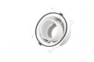 Abgasadapter in 3K-Technik und Gehäuseteil für Heizungen in 2K-Technik (Bildquelle: Metak)