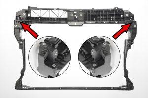 Die Z-Streben an den Frontendseiten sind mit einem verformten Einleger aus dem Material verstärkt. (Bildquelle: Lanxess)