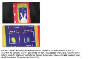 Schon kurz nachdem die Bereiche 3 und 4 gleichzeitig berührt wurden, zeigt der Bereich 4 mit den mineralischen Füllstoffen eine verbesserte Wärmeabfuhr. (Bildquelle: Quarzwerke)