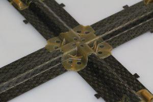 Detailaufnahme eines Verbindungsknotens der Sub-Versteifungsstruktur auf Basis von Polyetherimid – hergestellt im Hybrid-Molding-Verfahren (Bildquelle: Fraunhofer ICT)