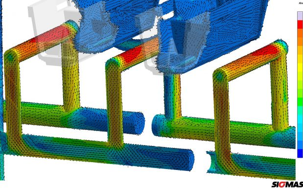 Platz 1: Die Version 5.1 der Sigmasoft-Virtual-Molding-Software von Sigma, Aachen, ermöglicht ein gleichzeitiges Betrachten der Strömungseffekte in der Schmelze sowie im Temperiermedium.
