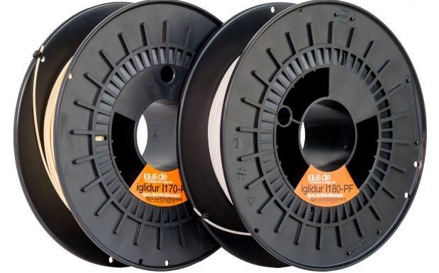 Platz 4: Igus, Köln, hat mit Iglidur I180-PF ein für 3D-Drucker passendes Filament entwickelt. Damit lassen sich leicht zu verarbeitende Bauteile für Lagerstellen unkompliziert fertigen und direkt einsetzen. Das Filament ist auf Reibung und Verschleiß optimiert und besitzt eine hohe Elastizität. Daher eignet es sich für das Herstellen von Ersatz-und Verschleißteilen für zum Beispiel Gleitlager, Antriebsmuttern oder Zahnräder. (Bildquelle: Igus)