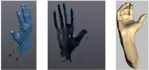 Aus der mittels 3D-Scanner erfasste Hand wird eine Punktewolke errechnet. Diese wird mittels entsprechender Software noch bearbeitet, was insbesondere das Schließen von Löchern und das Erzeugen einer homogenen Oberfläche im Bereich der späteren Montagehilfe einschließt. (Bildquelle: RWTH Aachen)