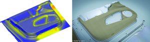 Innenverkleidung der Vordertür eines Tesla Model X – (links) Wandstärkenverteilung abgebildet mit der Simulationssoftware, (rechts) fertiges Bauteil (Bildquelle: alle Simpatec)