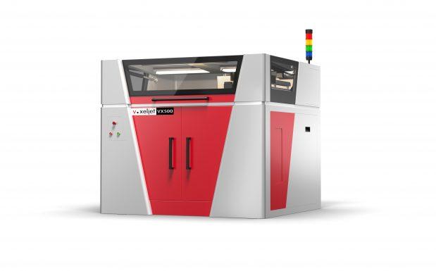 Platz 10: Der 3D-Drucker VX500 von Voxeljet, Friedberg, erreicht eine Auflösung von 600 dpi. Der Bauraum der Maschine misst 500 x 400 x 300 mm. Die in einem Durchlauf aufgebrachte Schichtstärke beträgt im Kunststoff 150µm. Der Multijet-Druckkopf ermöglicht es, mehrere Farben gleichzeitig zu verwenden. (Bildquelle: Voxeljet)