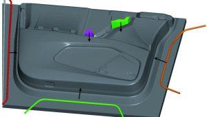 CAD-Modell der Innenverkleidung einer Vordertür (Tesla Model X) mit Formhilfen