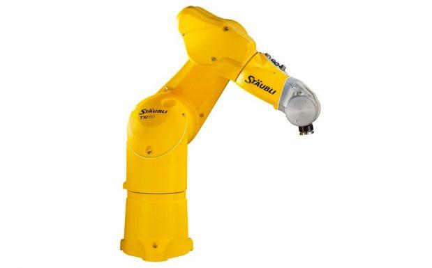 Platz 5: Die Besonderheit der Roboter von Stäubli, Bayreuth, die in den drei Modellreihen TX2-40, TX2-60 und TX2-90 im Traglastbereich von 2 bis 15 kg mit Reichweiten von 515 bis 1.450 mm angeboten werden, liegt in ihrer Sicherheitstechnik. Die Sechsachser haben einen digitalen Sicherheitsencoder pro Achse und ein Safetyboard. (Bildquelle: Stäubli)