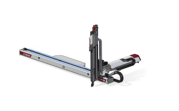 Platz 4: In der Basiskonfiguration bewältigt der Linearroboter WX163 von Wittmann Robot-Systeme, Nürnberg, eine Traglast von 45 kg. Hier kommt bereits eine pneumatische Kombi-C-Achse mit überproportional hohem Drehmoment zum Einsatz. Daneben bietet diese Lösung den Vorteil, dass eine variable Montagefläche für den Entnahmegreifer zur Verfügung steht und die Verdrehsteifigkeit des Gesamtsystems gestiegen ist. (Bildquelle: Wittmann Robot Systeme)
