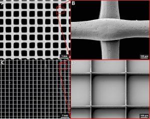 Vergleich zwischen Konstrukten aus biokompatiblem Polyester (Polycaprolacton), die mittels Fused Layer Modeling (A und B) und Melt Electrowriting (C und D) hergestellt wurden. Auffällig sind die viel feineren Strukturen beim Meld Electrowriting. (Bildquelle: SKZ)