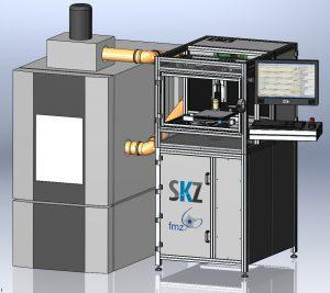 Das am FMZ bereits langjährig erforschte Verfahren Melt Electrowriting (MEW) ist eine Kombination der Verfahren Electrospinning und 3D-Druck. So lassen sich sehr dünne thermoplastische Kunststofffilamente (1 bis 30 µm) additiv zu präzisen Konstrukten beziehungsweise Kunststoffgelegen verarbeiten. (Bildquelle: SKZ)
