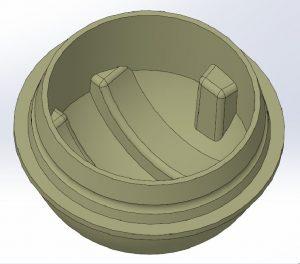 Variante 2: Optimierte Kapsel mit überlappenden Fügeflächen und einem glatten Übergang zwischen den Kugelhälften