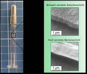 COC-Spritze und zwei beispielhafte Funktionsschichten (Feldemissions-Rasterelektronenmikroskop) (Bildquelle: IKV)