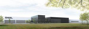 Die weiteren Ausbaumaßnahmen von Engel im Großmaschinenwerk in St. Valentin umfassen unter anderem ein neues Bürogebäude und ein noch größeres Kundentechnikum, wie es die Bausimulation zeigt. (Bildquelle: Engel)