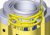 Der schweizer Werkzeugbauer Büchler Reinli + Spitzli (BRS) hat Aemisegger, einen nahegelegenen Hersteller von Werkzeugen und komplexen Metallteilen übernommen. Im Bild: CAD-Konstruktion von konturnahen Kühlkanälen in einem Werkzeug bei BRS. (Bildquelle: Büchler Reinli + Spitzli)