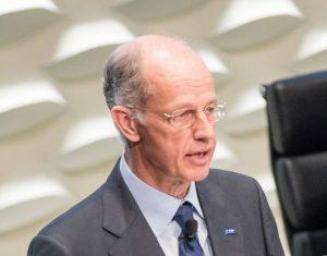 Dr. Kurt Bock bei seiner letzten Rede als Vorstandsvorsitzender der BASF auf der Hauptsammlung des Unternehmens in Mannheim. Seine Nachfolge übernimmt Dr. Martin Brudermüller, bisher stellvertretender Vorstandsvorsitzender. (Bildquelle: BASF)