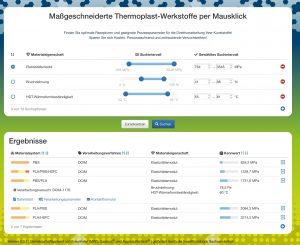 Materialsuche: Der User gibt die gewünschten Materialeigenschaften für eine Anwendung ein und erhält verschiedene Vorschläge. (Bildquelle: alle Polykum e.V.)