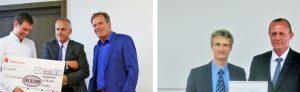 Die Preisverleihungen: Linkes Bild: Erik Hemmelmann (l.) erhielt den Allod-Werkstoff-Preis von Kurt Gebert (m.), Geschäftsführer von Allod Werkstoff; seine Bachelor-Abschlussarbeit betreute Prof. Walter Baur (r.). Rechtes Bild: Im Namen der Deutschen Kautschuk-Gesellschaft (DKG) bekam Artur Wekerle von Prof. Dr. Volker Herrmann den DKG-Förderpreis für seine hervorragende Bachelorarbeit überreicht. (Bildquellen: FHWS, Klein, Dittmann)