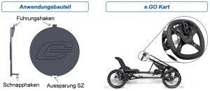 Das Versuchsbauteil ist ein Design Element am Lenkrad des e.GO Karts, welches gleichzeitig eine Verschlussfunktion für den Verstellmechanismus der Lenkstange darstellt. (Bildquelle: RWTH)