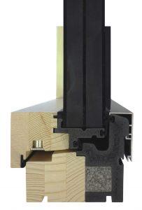 Der Passivhaus-Fensterrahmen ist eine Multi-Material-Konstruktion: Das zweiteilige Profilsystem besteht aus einem extrudierten PVC-Hartschaum (grau) mit offenporigem Gefüge und durchgehendem Kern aus Neopor.(Bildquelle: Pazen)