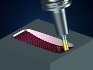 Anwendungsbeispiel: Beim fünfachsigen Schruppen von Taschen lässt sich besonders mit dem Einsatz von HPC-Fräsern (High Performance Cutting) viel Zeit einsparen.