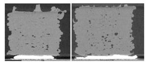 BU2: Mikro-CT-Scan eines handelsüblichen PA6 Materials und Luvocom 3F PA. Die 3D-Druckversuche wurden auf einer identischen Maschine mit gleichen Parametern durchgeführt (Geschwindigkeit, Filamentdicke, Extrusionsfaktor und andere). (Bildquelle: Lehvoss Group)