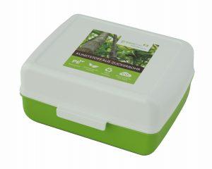 Auch die Lunch-Box aus Kunststoff aus nachwachsenden Rohstoffen gehört zu der Greenline-Serie. (Bildquelle: Gies)